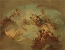 Attributed To Ramon Bayeu Y Subias, Apollon, Zéphir et Chloris, Mars et Venus et les signes du zodiaque (preparatory study for a ceiling)