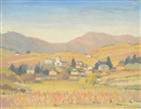 Adolphe Valette, Continental village with mountains in the distance