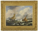 Govert van Emmerik, Boten op woliige zee (Boats on a stormy sea)
