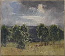 Elioth Gruner, Landscape with cattle and storm clouds
