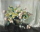 Vernon Ward, Spring flowers in French porcelain - Tulips and narcissi