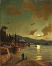 Attributed To Daniel Hermann Anton Melbye, Evening light off Constantinople
