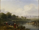 Attributed To John Knox, A regatta on the Clyde at Glasgow Green, the cathedral in the distance