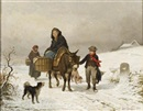 Louis Simon Cabaillot Lassalle, Donkey ride in the snow