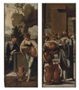 Circle Of Jan van Scorel, Christ and the woman of Samaria at the well (+ The Marriage at Cana; 2 works)