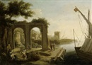 Circle Of Pierre Antoine Patel, A Mediterranean port with figures before a ruined arch