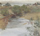Martin Stainforth, View of the Hunter River from the bridge at Singleton