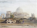 Circle Of Thomas Allom, Travellers before a mosque