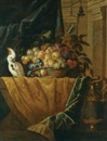 Jan Pauwel Gillemans the Younger, A still life with a basket of fruit and a parakeet upon a ledge draped with a damask beside an ormolu mounted porphyry vase