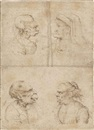 Follower Of Leonardo da Vinci, Caricatures of an old woman, wearing a carnation as a corsage, an old man wearing a cap, an old man with his mouth open, and an old woman shouting