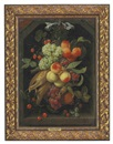 Joris van Son, Peaches, grapes, nectarines, strawberries, cherries, corn, a pomegranate and other fruit hanging from a blue ribbon in a niche
