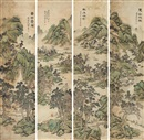 Xie Guansheng, 山水 (Landscape) (set of 4)