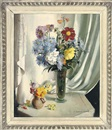 Vernon Ward, Chrysanthemums, daisies and other flowers in a glass vase