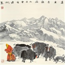 Ji Lianbin, 高原冬牧图 (Herdsman and yak)