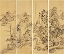 Xiang Wenyan, 山水 (Landscape) (+ 3 others; set of 4)