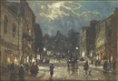 William Manners, Figures and carriages on a street by moonlight (+ Figures and a horse-drawn cart on a street by moonlight; pair)