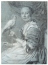 Attributed To Pieter Cornelisz van Slingeland, A lady with a parrot
