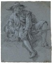 Attributed To Jan Miel, A man seated on the ground (study)