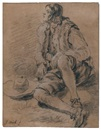 Attributed To Jan Miel, A young man seated on the ground, his hat beside him (study)