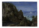 Lucas van Valkenborch, An extensive rocky landscape with travellers on a path and a mill beyond