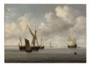Willem van de Velde the Elder, A galjoot and a smalschip at anchor approached by a small kaag, a flute under sail and other vessels beyond