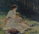 Catherine Wiley, Untitled (Seated mother and child in a meadow)