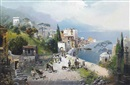 Robert Alott, A busy coastal path on the Bay of Naples, Vesuvius beyond