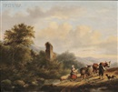 Gerardus Hendriks, Travelers in a landscape with ruins