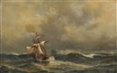Daniel Hermann Anton Melbye, Sailing ships in heavy seas