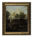 Follower Of John Wootton, A pastoral landscape with an obelisk, shepherds, sheep and cows (+ another; 2 works)