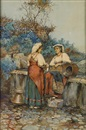 Giuseppe Aureli, Two maidens at a fountain