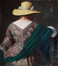Herman Albert Gude Vedel, Back-turned lady with a yellow summer hat, flowered dress and green shawl