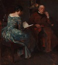 Herman Albert Gude Vedel, Evening atmosphere in a living room, where a lady is reading for a man