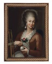 Follower Of Pietro Antonio Rotari, Portrait of a lady in a pink dress winding yarn