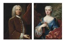 Baziray, Portrait of a gentleman in a brown coat (+ Portrait of a lady in a blue dress with a garland of flowers; pair)