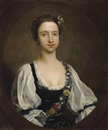 Circle Of Henry Pickering, Portrait of a girl in a black dress with white sleeves and a garland of flowers