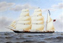 "Harold Percival, The sailing barque ""Snowdrop"", owners J.D. Telford, at sea under full sail, other shipping and cliffs in the distance"
