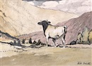 Adolphe Valette, Cow in a mountainous landscape