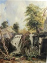 Samuel Austin, A child on a river bank by a mill, a waterfall beyond (Penmachno, North Wales?)
