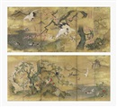 Kano Masunobu, Birds and flowers of spring (+ Birds and flowers of summer; pair)