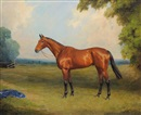 "Thomas Percy Earl, The racehorse ""Golden Miller"", standing in a paddock at Exning, Newmarket"