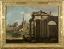 Attributed To Antonio Visentini, Caprice architectural avec ruines et personnages