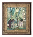 Jules Léon Flandrin, Promenading figures in a garden with a sculpture of Venus and Cupid