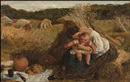 James Clarke Hook, A well-deserved lunch, a woman with child with infant in a hayfield and figures cutting hay beyond