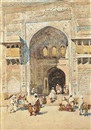 Robert Weir Allan, Figures on the steps of the Masjid Wazir Khan, Lahore