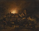 Egbert Lievensz van der Poel, A night scene with a fire in a village