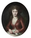 Adélaïde Labille-Guiard, Portrait of the Princesse de Lamballe, in a white silk dress and a red coat, seated, holding a locket