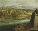 Follower Of Paul Bril, A view of a harbour with figures on a shore, St. Peter's and the Church of Santo Spirito in Sassia beyond