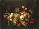 Circle Of Joris van Son, A garland with plums, blackberries, peaches, white and black grapes, a quincy, corn, cherries, apricots and other fruit