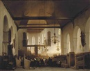 Attributed To Johannes Bosboom, A service in the Geertekerk, Utrecht